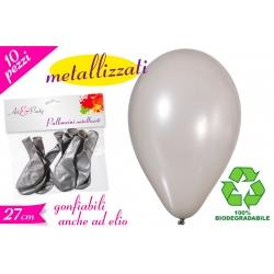 PALLONCINO METALIZZATO ARGENTO 10PZ