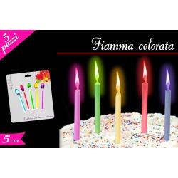 SET 5 CANDELINE FIAMMA COLORATA ASS