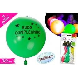 SET 5 PALLONCINI C/LED B. COMPLEANNO