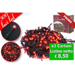 CATENA LUMINOSA 300 LED ROSSO