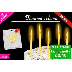 CANDELINE FIAMMA COLORATA 5PZ