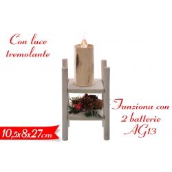 DECORAZIONE CANDELA C/LUCE 10,5X8X27 CM